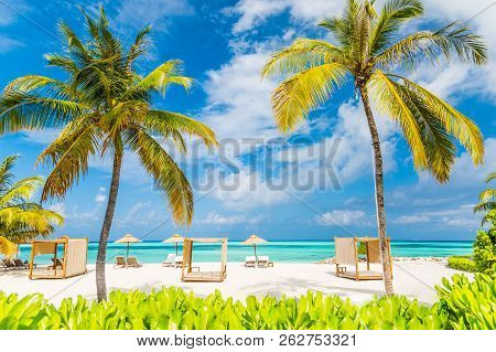 Relaxation And Lounge Scene With Beach Canopy And Beach Chairs, Parasol On White Sandy Beach Backgro