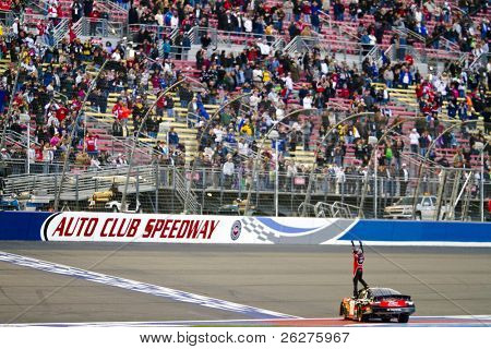 Fontana, CA - FEB 20, 2010:  Kyle Busch wins the Stater Bros 300 race at the Auto Club Speedway in Fontana ,CA on Feb 20, 2010