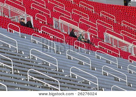 BRISTOL, TN - MAR 19: The grandstands lay almost empty as the NASCAR teams take to the track for the running of the Food City 500 race at the Bristol Motor Speedway on Mar 19, 2010 in Bristol, TN.