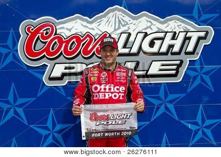 FORT WORTH, TX - APR 16:  Tony Stewart wins The Pole Award at the Texas Motor Speedway for the running of the Samsung Mobile 500 race on Apr 16, 2010 in Fort Worth, TX.