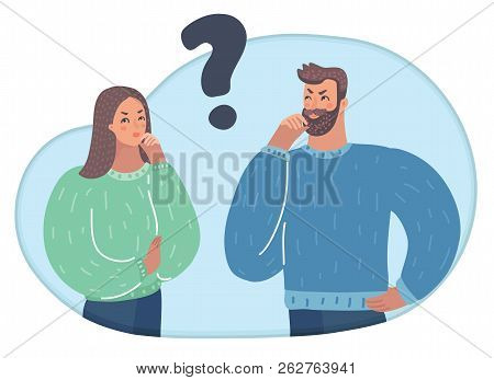 Vector Illustration Of A Two People With Question Mark. Man And Woman Think In Puzzlement And Lookin