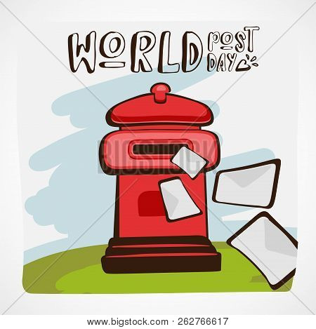 Words Post Day Vector Illustration. Red Mail Box With Letters Flying In Or Away On Green Grass And B