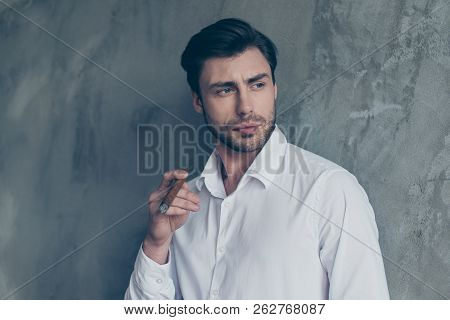 Handsome Brunet Elegant Attractive Well-dressed Good-looking Man In Formal Wear Hold Cigar In Hand L