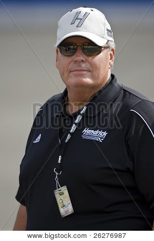 FONTANA, CA - AUG 29:  Car Owner, Rick Hendrick, watches qualifying for the Pepsi 500 NASCAR Sprint Cup race at the Auto Club Speedway on Aug 29, 2009 in Fontana, California