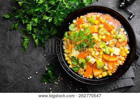 Healthy Vegetarian Vegetable Soup With Lentil And Vegetables. Lentil Soup With Vegetables