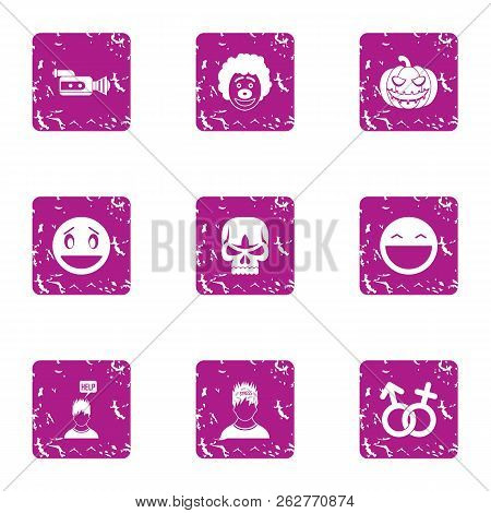 Personal Choice Icons Set. Grunge Set Of 9 Personal Choice Icons For Web Isolated On White Backgroun