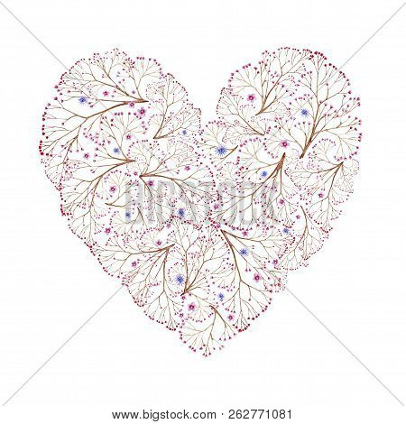 Natural Brown Branches Heart Shaped With Flowers. Cliparts For Wedding Design, Artistic Creation.