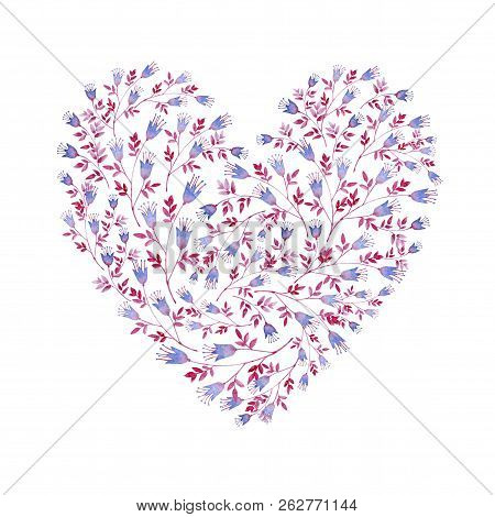 Floral Blue And Pink Heart Shaped. Cliparts For Wedding Design, Artistic Creation.