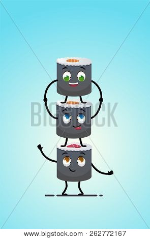 Sushi Delivery. Happy Smiling Cartoon Asian Food Take Away Concept. Sushi Standing On Each Other. Ja
