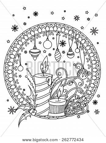 Christmas Mandala Coloring Page. Adult Coloring Book. Holiday Decor, Candales, Hilly Barries, Ribbon