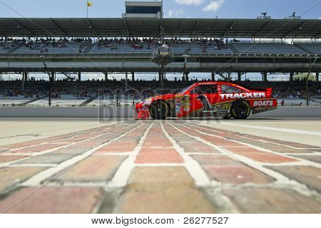INDIANAPOLIS, IN - JULY 23:  Jamie McMurray brings his Bass Pro Shops Chevrolet down pit road for the Brickyard 400 race at the Indianapolis Motor Speedway on July 23, 2010 in Indianapolis, IN.