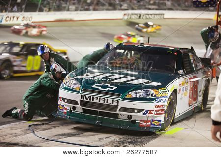 BRISTOL, TN - AUG 21:  Dale Earnhardt, Jr. brings his the Amp Energy Chevrolet in for service during the Irwin Tools Night Race race at the Bristol Motor Speedway in Bristol, TN on Aug 21, 2010.
