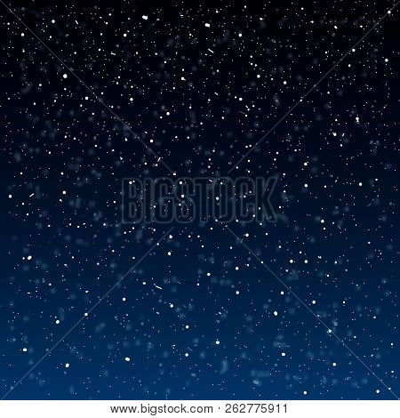 Falling snow background. Vector illustration with snowflakes. Winter snowing sky.