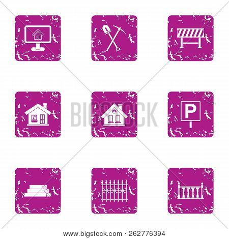 Edifice Icons Set. Grunge Set Of 9 Edifice Icons For Web Isolated On White Background