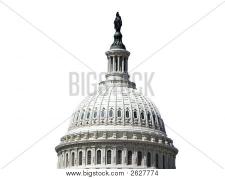 United States of America Capitol Dome against a white background - the symbol of the federal (national) government. poster