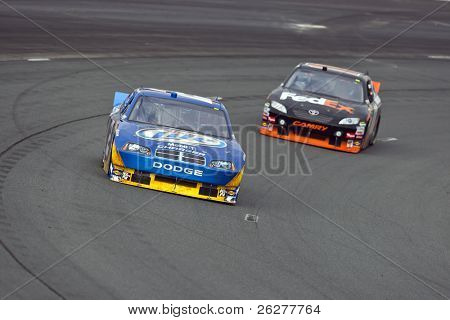 LOUDON, NH - SEP 18:  Kurt Busch brings his Miller Lite Dodge through the turns during practice for the Sylvania 300 race at the New Hampshire Motor Speedway in Loudon, NH on Sept 18, 2010