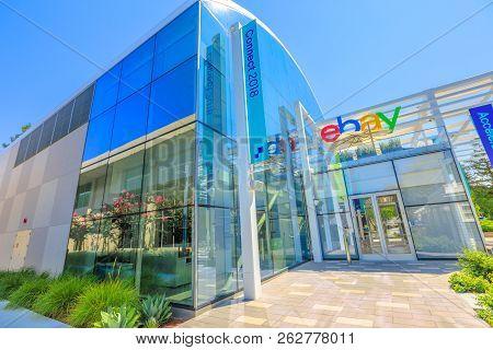 San Jose, California, Usa - August 12, 2018: Ebay Headquarters And Campus In San Jose. Ebay Operates
