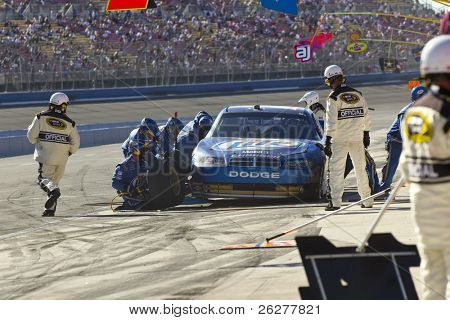 FONTANA, CA - OCT 10:  Kurt Busch brings his crippled Miller Lite Dodge in for service during the Pepsi Max 400 race at the Auto Club Speedway in Fontana, CA on Oct 10, 2010.