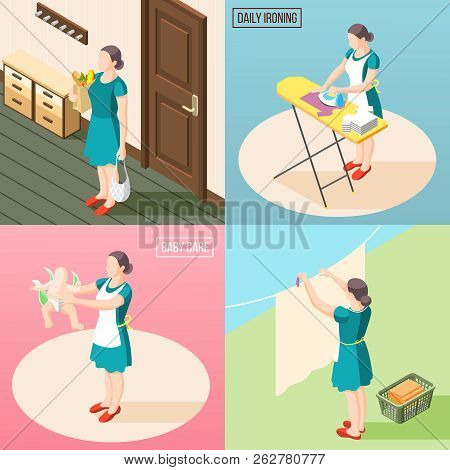 Tortured housewife 2x2 design concept set of routine daily duties so as baby care laundry ironing isometric vector illustration poster
