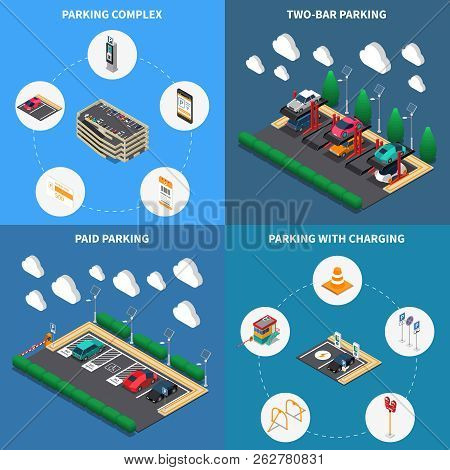 Parking Lots Facilities Concept 4 Isometric Compositions Icons Square With Charging Stalls Multi Lev