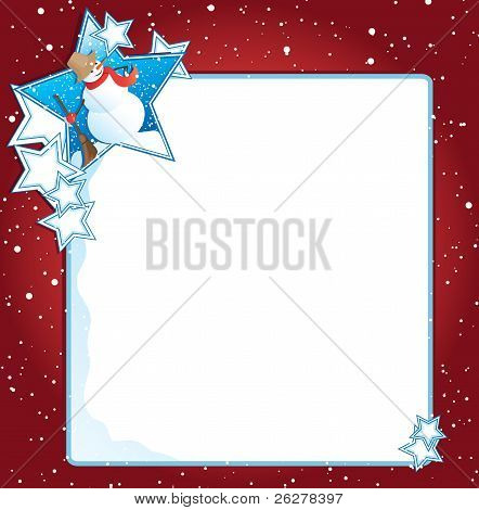 Snowman With Stars Background
