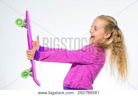 Kid Long Hair Carry Penny Board. Plastic Skateboards For Everyday Skater. Penny Board Of Her Dream.