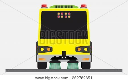 Street Sweeper Truck Vector and illustration on white background poster
