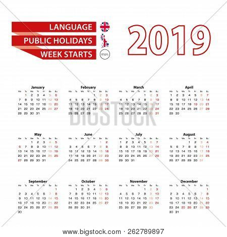 calendar 2019 in english language with public holidays of the united kingdom in year 2019