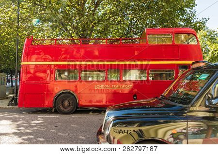 London. October 2018. A View Of An Old Red Traditional Busin London
