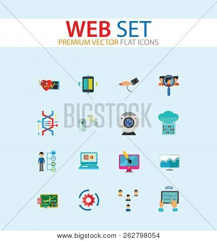 Web Icon Set. Internet Data Flow Web Camera Online Recruitment Server Man With Megaphone Strategic Control Changes Adaptation Cohesion Structure Inserting Design Computer Monitor poster