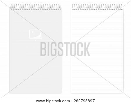 Top Spiral Lined Notebook: Page And Front Cover, Realistic Vector Mockup. Wire Bound Legal Size Note