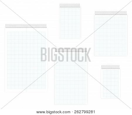 Top Spiral Notebook With Squared Metric Field Rule Sheets Set, Realistic Vector Mockup. Wire Bound N