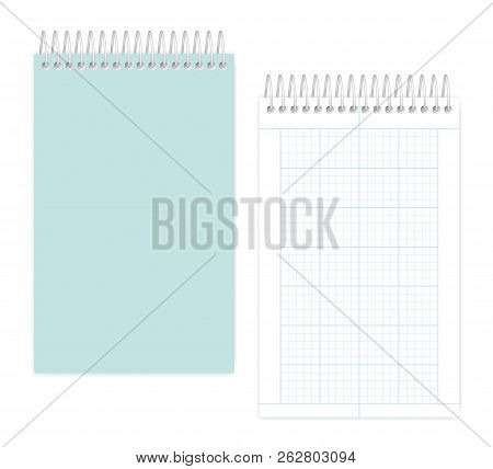 Top Spiral Notebook With Squared Metric Field Rule Sheets: Page And Cover, Realistic Vector Mockup.