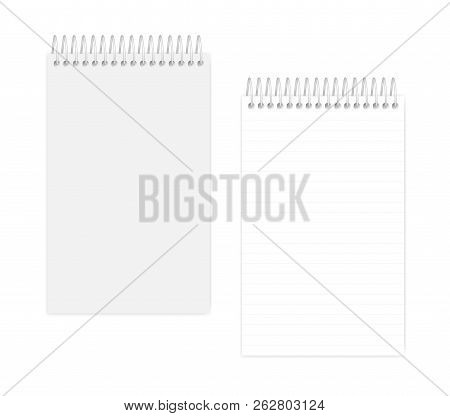 Top Spiral Lined Notebook: Page And Cover, Realistic Vector Mockup. Wire Bound Junior Legal Size Not