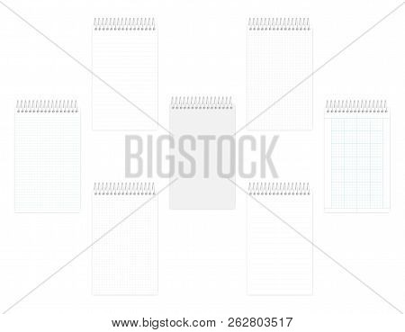 Top Spiral Notebook Junior Legal Size Set, Realistic Vector Mockup. Wire Bound Notepad With Various