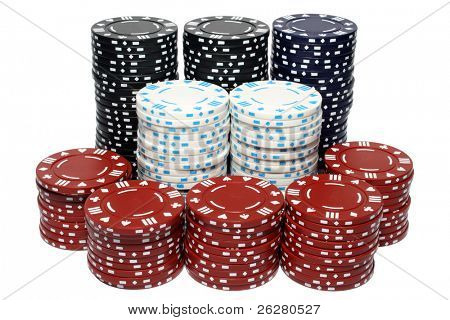 Lots of poker chip stacks, isolated on a white background.