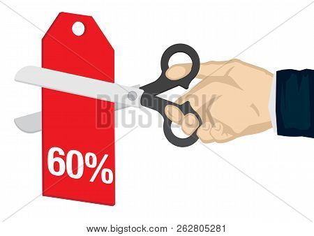 Hand Holding A Scissor, Cutting The 60% Off Price Tag. Concept Of Sale, Discount; Promotion Or Barga
