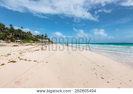 Crane Beach, Barbados - December 18, 2018:  Crane Beach, Saint Philip, Barbados. The Beach Has Been
