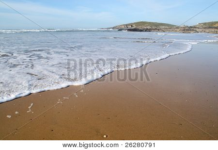 The tide coming in at Fistral beach, Newquay, Cornwall.