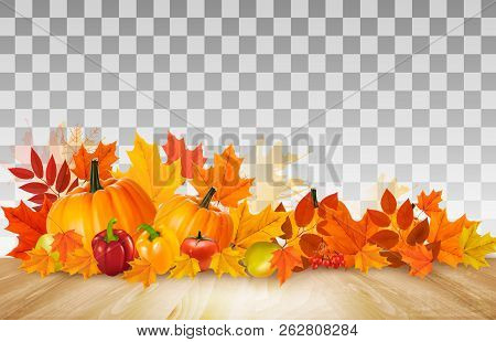 Happy Thanksgiving Background With Colorful Fruit And Vegetables On Transparent Background. Vector.
