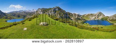 Enol and Ercina lakes panoramic at Picos de Europa in Asturias of Spain