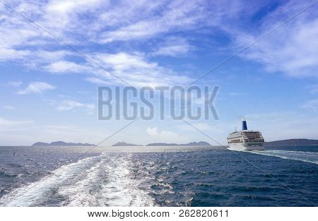 Islas Cies islands view from the sea of Vigo at Spain