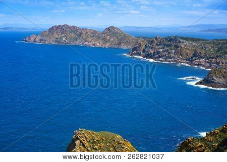 Islas Cies islands aerial in Vigo of Galicia at Spain