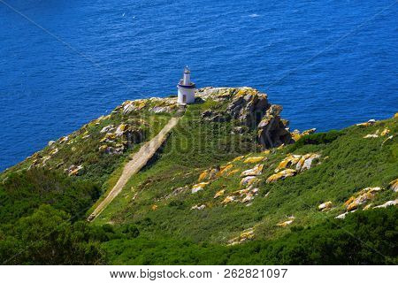 Islas Cies islands lighthouse Faro da Porta in Vigo Spain