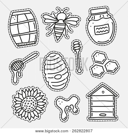 Set Of Uncolored Honey Stickers Or Patches Isolated On Grey Background.