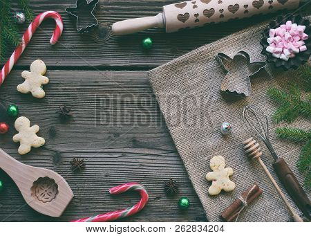 Christmas Composition With Cookies, Festive Decoration, Gingerbread Spices, Marshmallows, Candy And