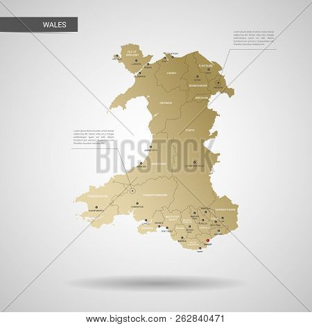 Stylized Vector Wales Map.  Infographic 3d Gold Map Illustration With Cities, Borders, Capital, Admi