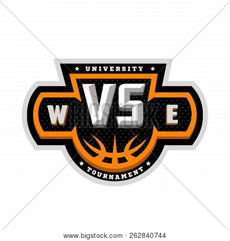 Basketball, Vs, Sports Logo, Emblem. Vector Illustration.
