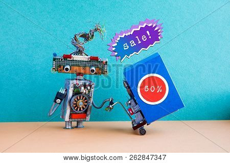 Holiday Sales Promotion Poster. Funny Robot Moving Shopping Cart Big Blue Box, 50 Percent Sale Stick