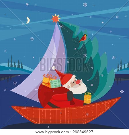 Cute Santa Claus Sailing In Festive Sailboat With Christmas Tree, Gifts Present. Fun Boat On Lake In